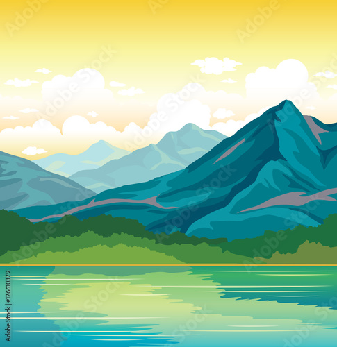Summer landscape - mountains, forest, lake.