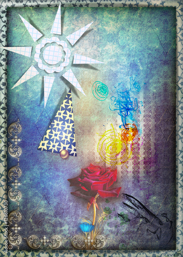 Door stickers Imagination Mystic red rose in the blue starry sky