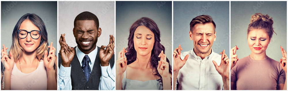 Fototapety, obrazy: Group of multiethnic young people hopeful crossing their fingers hoping