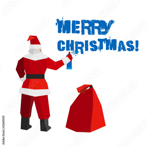 Christmas Graffiti Background.Santa Claus With Sprayer And Gift Bag Writes Words Merry