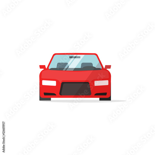 Staande foto Cartoon cars Car icon red color vector illustration, auto icon isolated on white background, colorful automobile front view flat style, vehicle symbol simple design