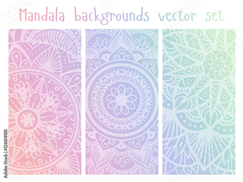 Cards Set With Mandala Mehndi Ornament In Indian Style