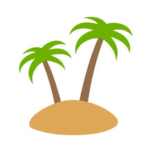 Island Or Isle With Two Arecaceae Palm Trees Flat Color Icon For Apps And Websites