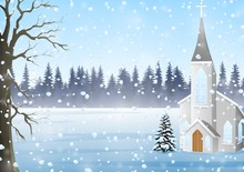 Christmas Greeting Card, Winter Landscape With Church