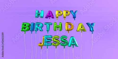 Photo  Happy Birthday Jessa card with balloon text - 3D rendered stock image