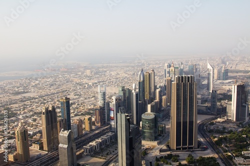 Fotografie, Obraz  Aerial view of downtown Dubai showing commercial buildings