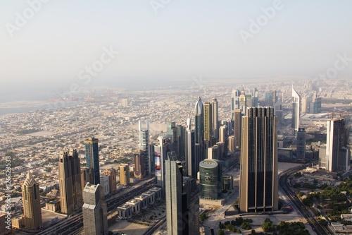 Fotografie, Obraz  Aerial view of downtown Dubai showing commercial buildings