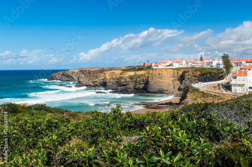 Photo Zambujeira do Mar village and cliffs near the Atlantic ocean coast landscape, Al