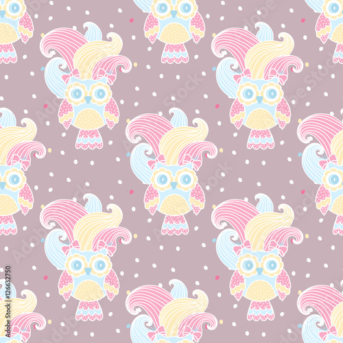 Stickers pour portes Hibou Seamless pattern with owls in love on a pink background