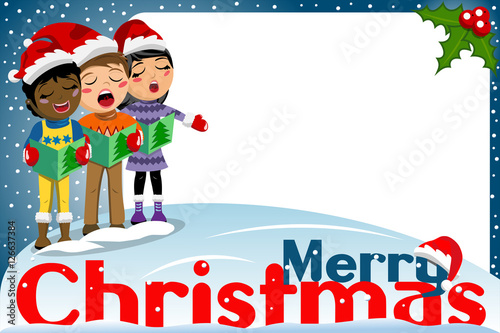 31c896ce5c648 Multicultural kids xmas hat singing Christmas carol blank frame ...