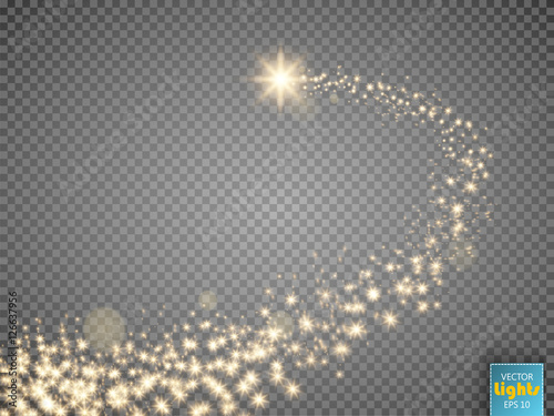 Obraz Gold glittering star dust trail sparkling particles on transparent background. Space comet tail. - fototapety do salonu