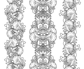 Vector love set seamless pattern borders