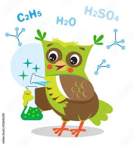 smieszna-sowa-eksperymentuje-z-substancjami-chemicznymi-wzor-chemiczny-na-bialym-tle-ilustracja