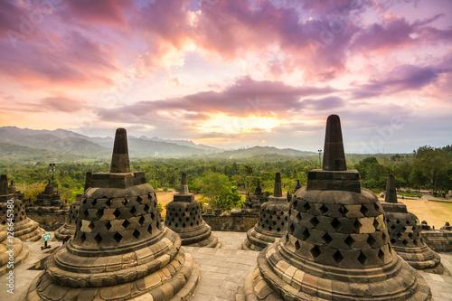 Foto op Aluminium Indonesië amazing sundown at borobudur temple, indonesia