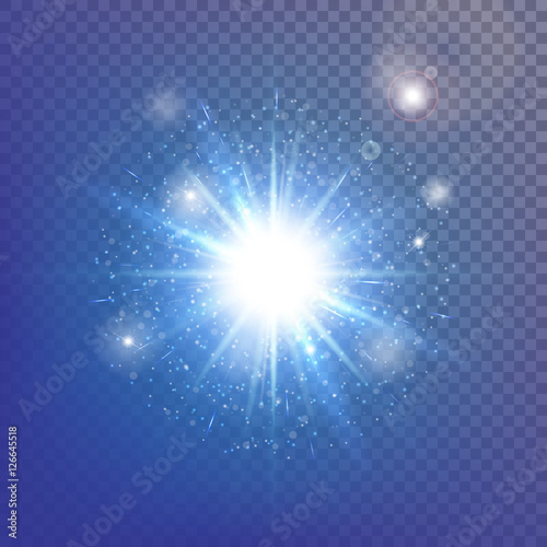 Abstract light background. Blue bokeh. Burst vector. Sparkling stars. Sunlight rays. Illustration of a transparent backdrop.