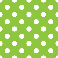 Polka Dot Green And White Seamless Pattern Vector