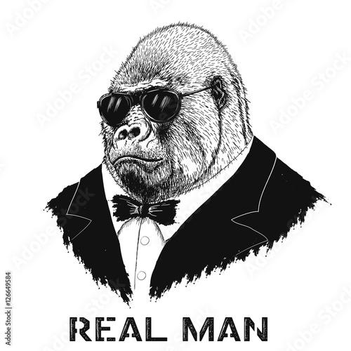 Photo  gorilla like a real man