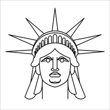Head Of Statue Of Liberty  Linear Style. Face Sculpture America.