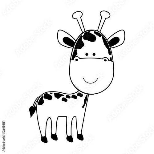 giraffe cartoon animal icon image vector illustration design Poster
