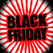 Black Friday design template in grunge style. Emblem poster nigh