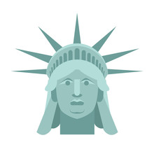 Head Of Statue Of Liberty. Face Sculpture America. Monument In U
