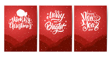 Vector Illustration: Three Red Vertical Posters With Forest, Hills And Hand Lettering Of Happy New Year And Merry Christmas. Snowy Landscape.