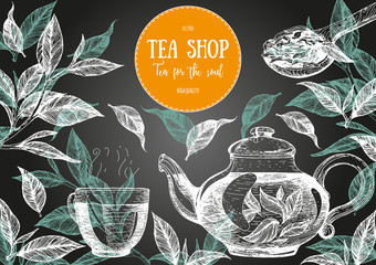 Panel Szklany Herbata Tea Shop vector illustration. Vector card design with tea. Tea house poster. Vector hand drawn set. Linear graphic