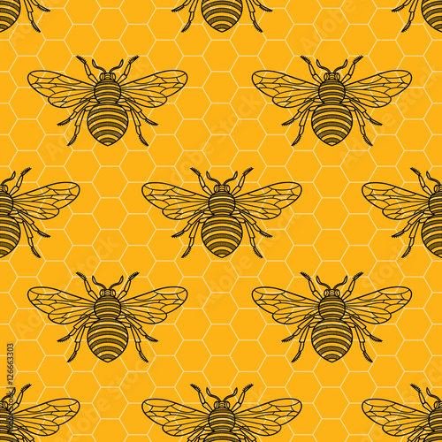 Cotton fabric Seamless pattern with bees.