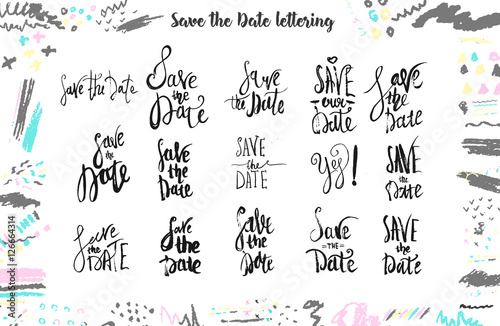 Fotografia, Obraz  Save The Date Wedding lettering for templates, labels with hand drawn type lettering Isolated on white background