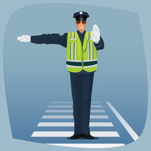 Traffic Cop, Officer Of Traffic Police, In Form Of Policeman, With High Visibility Clothing, Standing At Crossroads And Made Sign With His Hands. Cartoon Style