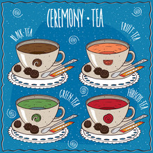 Set Of Cups With Different Tea With The Names, Black, Fruit, Green, Hibiscus, On A Lacy Napkin. Blue Background And Lettering Ceremony Tea. Handmade Cartoon Style