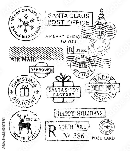Cuadros en Lienzo Christmas stamps vector