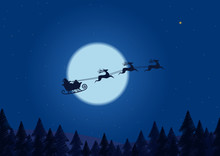 Santa Flying Through The Night Sky Under The Christmas Forest. Santa Sleigh Driving Over Line Drawing Woods Near Big Moon In Night.