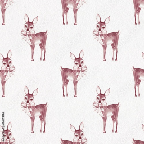 Cotton fabric Pattern with Baby Deer. Hand drawn cute fawn on paper background. Seamless background 5