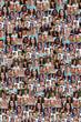 canvas print picture - Collage Menschen junge Leute Hintergrund lachen große Gruppe