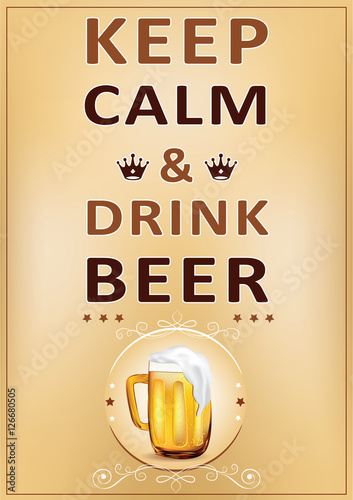 Valokuva  Keep calm and drink beer - printable Wall poster