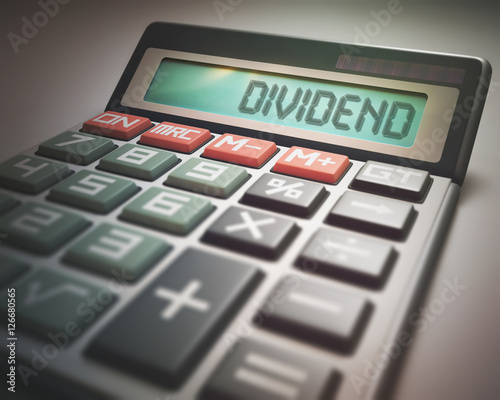 Fotografía  Solar calculator with the word DIVIDEND on the display