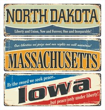 Vintage Tin Sign Collection With USA State. North Dakota. Massachusetts. Iowa. Retro Souvenirs Or Old Postcard Templates On Rust Background.