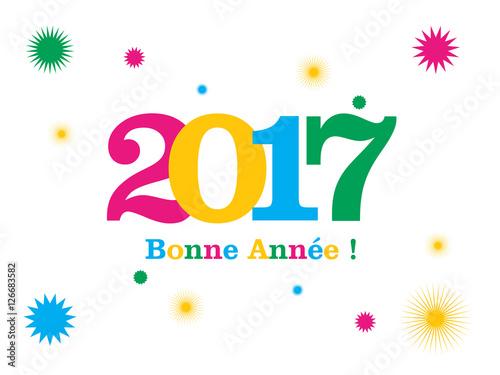 Nouvel An 2017 étoiles Multicouleur Message Bonne Année