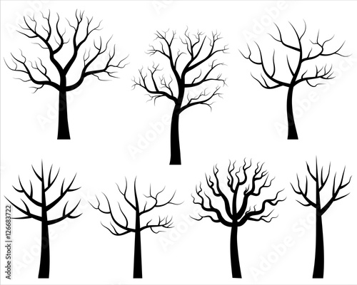 Vector Bare Tree Silhouettes Black Cartoon Trees Without Leaves