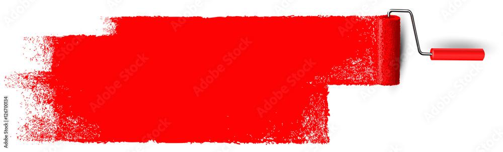 Fototapety, obrazy: Anstrich mit Farbroller Banner - Rote Fläche mit Textur