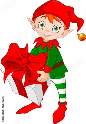 In de dag Sprookjeswereld Christmas Elf with Gift/ Illustration of red haired Christmas elf standing and carrying a gift