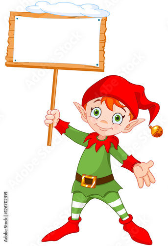 In de dag Sprookjeswereld Christmas Elf with Sign/ Illustration of a cute Christmas elf holding up a snowy sign