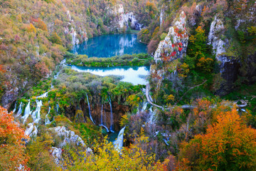 Panel Szklany Rzeki i Jeziora Waterfalls in Plitvice National Park