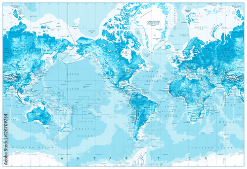 Fotografie, Tablou  Physical World Map-America Centered