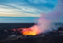 Fire And Steam Erupting From Kilauea Crate, Hawaii Volcanoes National Park, Big Island Of Hawaii