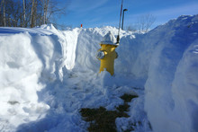 Fire Hydrant With Surround Snow Removed
