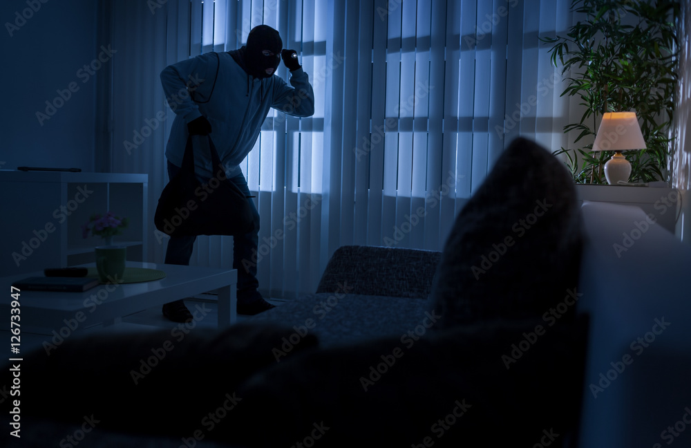 Fototapeta burglary or thief breaking into a home at night through a back d
