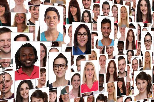 Fotografie, Obraz  Hintergrund Collage viele junge Leute Menschen Jugendliche Grupp