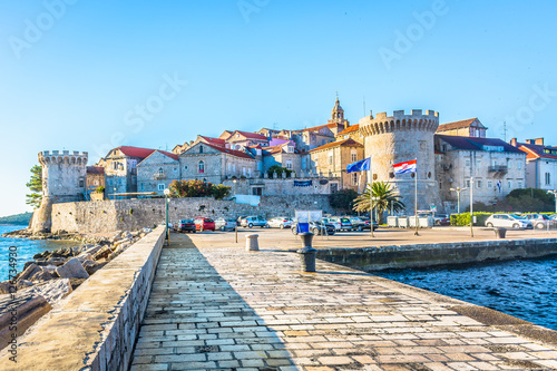 Poster Mediterranean Europe Cityscape of town Kocula, Croatia. / View at popular touristic destination in Europe, Croatia.
